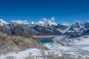 Gokyo lake at the bottom and Mt Everest at the top. Taken from Renjo pass. Photo: Ujjwal Rai