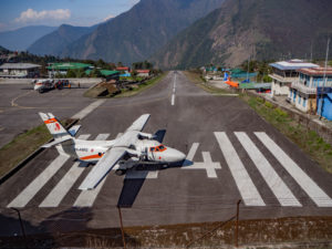 Only 460 meter long but it is on the slope of the mountain so it gains speed while taking off. At the end of the airport its vertical cliff. Photo: Ujjwal Rai