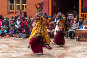 Mask dance performed by Monks in front of royal family during Tiji Festival in Lomanthang. Photo: Samde Sherpa