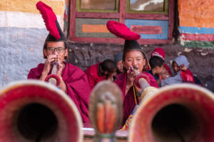 Monks from Lo Manthang performing the rituals during the festival. Photo: Samde Sherpa
