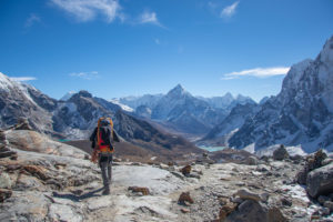 View of Khumbu Valley from eastern side of Chola pass. Photo: Ujjwal Rai