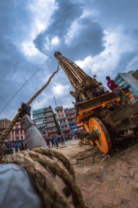 Chariot of Bungadyo the God Of Rain being made at Pulchowk. Photo: Photo Khichuwa