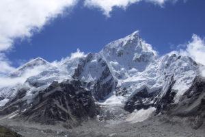 Everest 8848m and Nuptse seen on the way to Kala Patthar summit