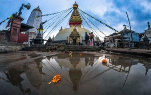 Swayambhu Stupa Reflected in a puddle. Photo: Photo Khichuwa