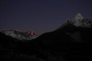 Ama Dablam including Lhotse and Everest during sunset from Pangboche village. Photo: Sharan Karki