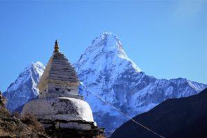 Ama Dablam with Buddhist Stupa near Pangboche village. Photo: Sharan Karki