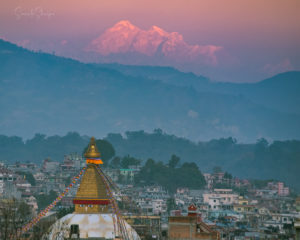 Boudhanath stupa and Gaurishankar taken from Boudha. Photo: Samde Sherpa