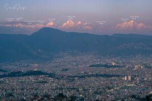 The full panoramic view of Kathmandu valley from Chandragiri with beautiful mountains at Dusk. Photo: Samde Sherpa