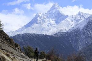 Mount Amadablam and a trekker. Photo: Sharan Karki