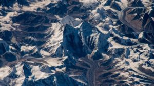 Oblique view of Mt. Everest, as seen from the International Space Station. Credit: Sergey Rryazanskiy/ Roscosmos.