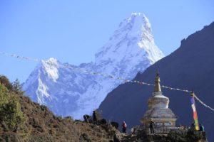 Small Stupa and Ama Dablam seen from Kyanjuma village. Photo: Sharan Karki