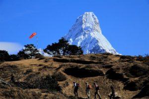 Trekkers hiking in the lap of Ama Dablam, near Everest View Hotel. Photo: Sharan Karki