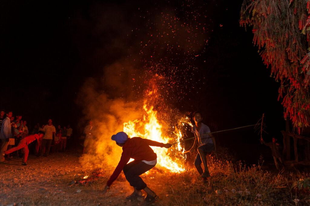 Burning Holika- Holi in Bardiya